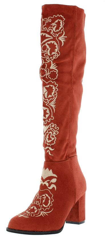Ukraine Red Embroidered Knee High Boot - Wholesale Fashion Shoes