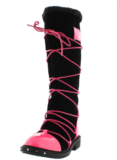 Ultra03 Fuchsia Pu Multi Wrap Fur Lined Boot - Wholesale Fashion Shoes