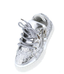 ULTRA49K SILVER SPARKLE SIDE ZIP LACE UP KIDS SNEAKER FLAT - Wholesale Fashion Shoes