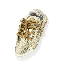 ULTRA49K GOLD SPARKLE SIDE ZIP LACE UP KIDS SNEAKER FLAT - Wholesale Fashion Shoes