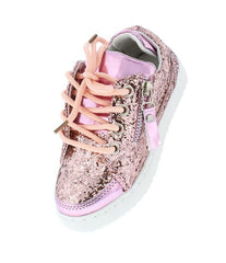 ULTRA49K PINK SPARKLE SIDE ZIP LACE UP KIDS SNEAKER FLAT - Wholesale Fashion Shoes