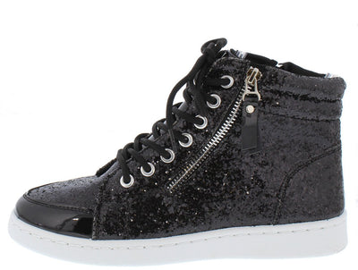 Ultra69 Black Sparkle Side Zip Lace Up High Top Sneaker Flat - Wholesale Fashion Shoes