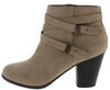 Undines Light Taupe Dual Wrap Strap Ankle Boot - Wholesale Fashion Shoes