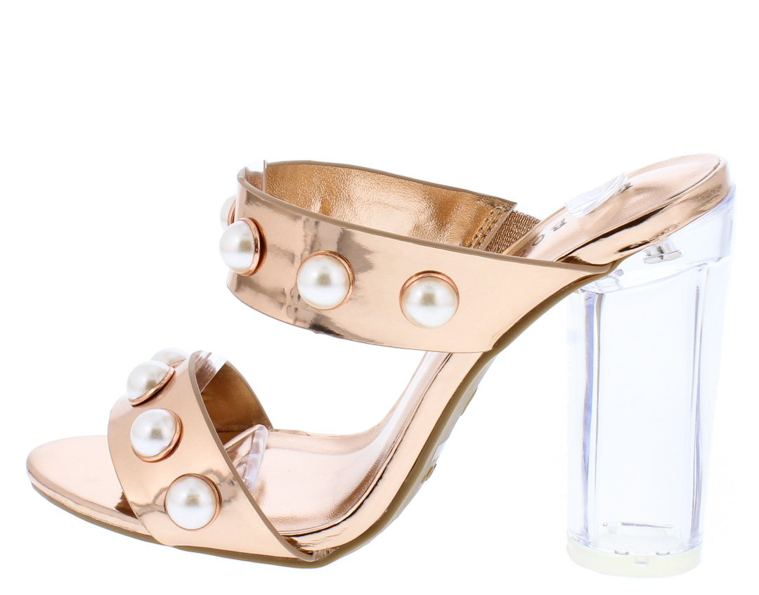 ffa7802bc505 Upright06m Rose Gold Patent Pearl Dual Strap Lucite Block Heel - Wholesale  Fashion Shoes