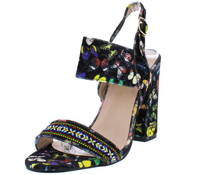 Urban1 Black Velvet Butterfly Embroidered Colorful Heel - Wholesale Fashion Shoes