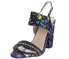 Urban1 Blue Velvet Butterfly Embroidered Colorful Heel - Wholesale Fashion Shoes