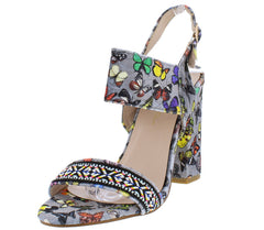 Urban1 Grey Velvet Butterfly Embroidered Colorful Heel - Wholesale Fashion Shoes