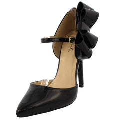 VIRTUE77 BLACK PAT PU BOW ANKLE STRAP POINTED HEEL - Wholesale Fashion Shoes