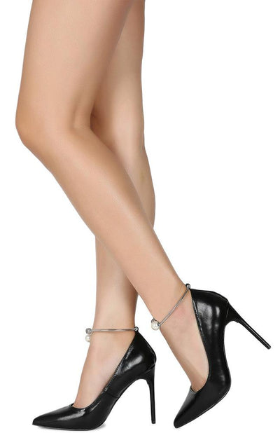 Ruby229 Black Pointed Toe Faux Pearl Ankle Ring Stiletto Heel - Wholesale Fashion Shoes