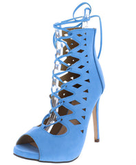 Holle89 Light Blue Peep Toe Lace Up Geometric Cut Out Heel - Wholesale Fashion Shoes