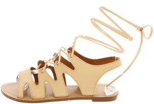 c31a701dd54a Thea Nude Open Toe Exposed Heel Zigzag Lace Up Sandal - Wholesale Fashion  Shoes