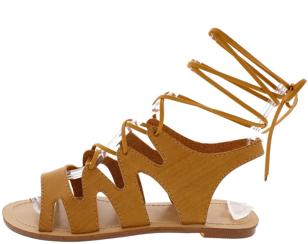 Sandals and shoes wholesale - Thea Tan Open Toe Exposed Heel Zigzag Lace Up Sandal Wholesale Fashion Shoes 1