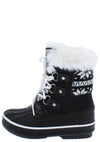 Value84k Black Faux Fur Lace Up Kids Snow Boot - Wholesale Fashion Shoes