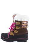Value84k Brown Faux Fur Lace Up Kids Snow Boot - Wholesale Fashion Shoes