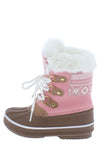 Value84k Pink Faux Fur Lace Up Kids Snow Boot - Wholesale Fashion Shoes
