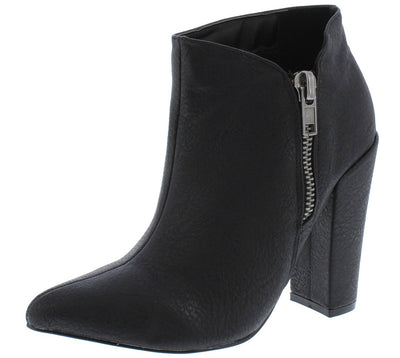 Quinn260 Black Pu Pointed Toe Side Zip Ankle Boot - Wholesale Fashion Shoes