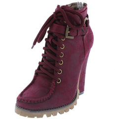 HARPER CRANBERRY DISTRESSED LUG SOLE BOOT - Wholesale Fashion Shoes
