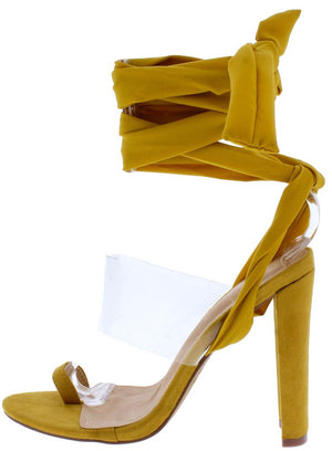 c71bd8fdadc9 Anna108 Yellow Toe Ring Lucite Ankle Tie Wrap Tapered Heel - Wholesale  Fashion Shoes