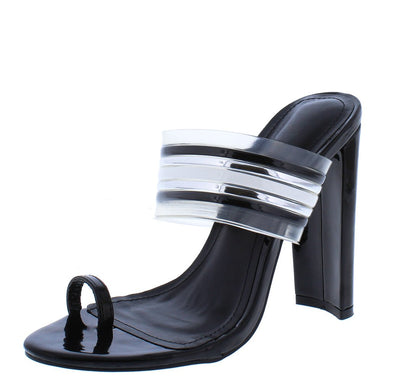 Adela218 Black Toe Strap Multi Mule Tapered Block Heel - Wholesale Fashion Shoes