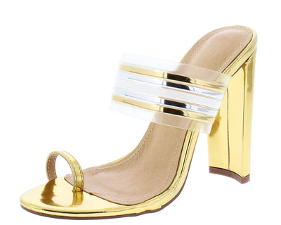 Adela218 Gold Toe Strap Multi Mule Tapered Block Heel - Wholesale Fashion Shoes