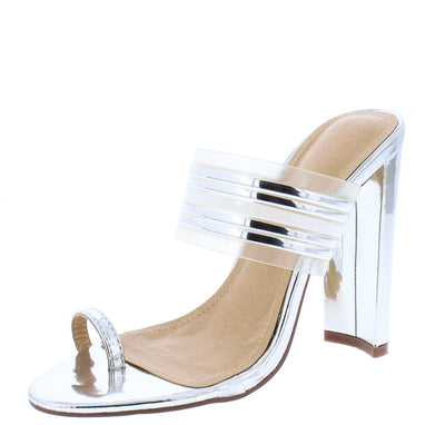 Adela218 Silver Toe Strap Multi Mule Tapered Block Heel - Wholesale Fashion Shoes