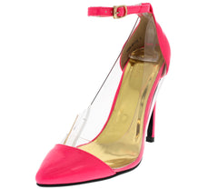 VENIBY13 PINK LUCITE CLEAR WINDOW POINTED HEEL - Wholesale Fashion Shoes