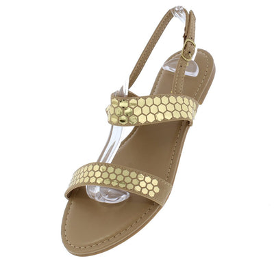 Ventura02s Natural Gold Honeycomb Dual Band Slingback Sandal - Wholesale Fashion Shoes