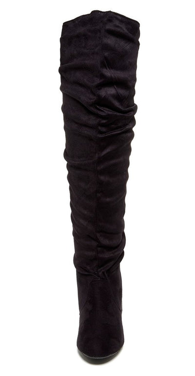 Vickie Hi Black Suede Over The Knee Flat Boot - Wholesale Fashion Shoes