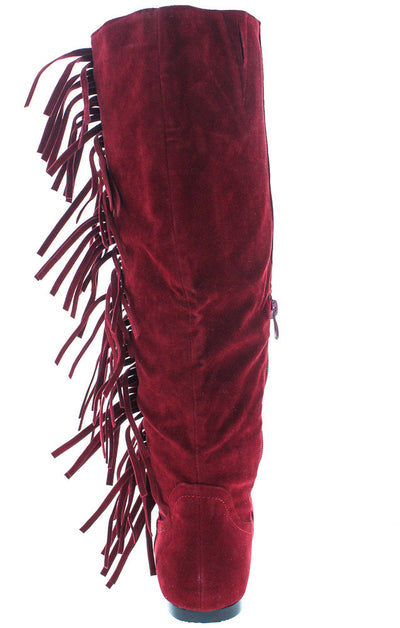 Vickie21 Red Faux Suede Fringe Boot - Wholesale Fashion Shoes