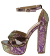 Victoria5 Purple Snake Open Toe Ankle Strap Platform Heel - Wholesale Fashion Shoes