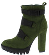 Vine Olive Cross Clip Strap Lug Sole Ankle Boot - Wholesale Fashion Shoes