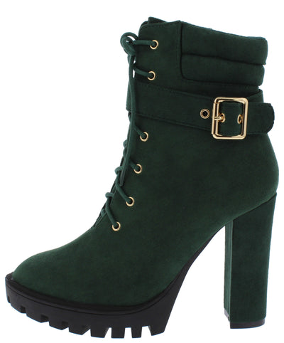 Vinny Hunter Green Lace Up Buckle Lug Sole Ankle Boot - Wholesale Fashion Shoes