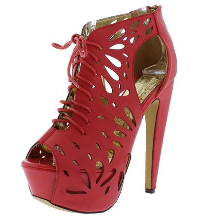 Vitola Red Laser Cut Peep Toe Platform Ankle Boot - Wholesale Fashion Shoes
