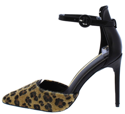 Alexander192 Pony Leopard Pointed Toe Ankle Strap Heel - Wholesale Fashion Shoes
