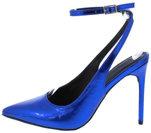 3320fd34b0 Nora108 Blue Patent Pointed Toe Slingback Ankle Strap Heel - Wholesale  Fashion Shoes