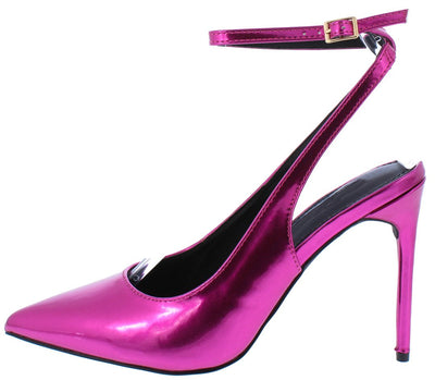 Nora108 Fuchisa Patent Pointed Toe Slingback Ankle Strap Heel - Wholesale Fashion Shoes
