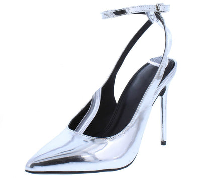 Nora108 Silver Patent Pointed Toe Slingback Ankle Strap Heel - Wholesale Fashion Shoes