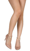 Ruby229 Nude Pointed Toe Faux Pearl Ankle Ring Stiletto Heel - Wholesale Fashion Shoes