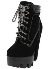 Vive11 Black Lace Up Platform Lug Ankle Boot - Wholesale Fashion Shoes
