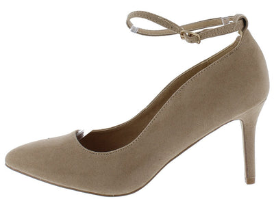 Vivien05 Taupe Suede Fabric Pointed Toe Ankle Strap Short Heel - Wholesale Fashion Shoes