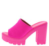 Voice Pink Peep Toe Chunky Lug Platform Mule Heel - Wholesale Fashion Shoes