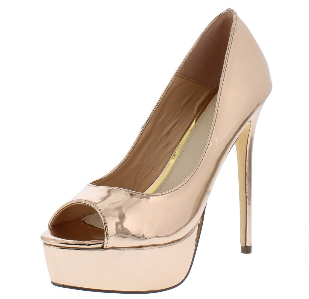 d42f686b3 Arianna017 Rose Gold Peep Toe Platform Stiletto Heel - Wholesale Fashion  Shoes