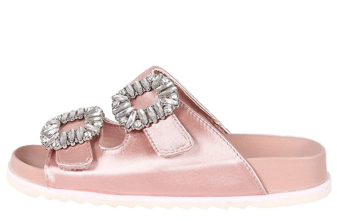 a8877f2d65d21 Alessandra02 Dusty Pink Satin Open Toe Jewel Buckle Sandal - Wholesale  Fashion Shoes