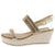 W2024 Gold Sparkle Open Toe Slingback Espadrille Wedge