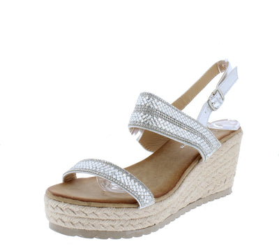W2024 Silver Sparkle Open Toe Slingback Espadrille Wedge - Wholesale Fashion Shoes