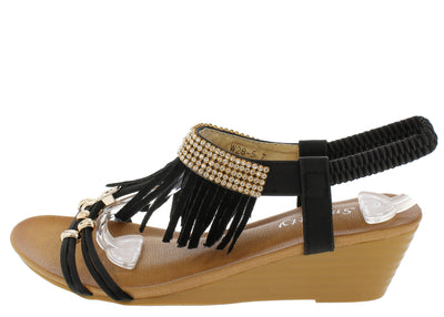 W285 Black Rhinestone Fringe Open Toe Wedge - Wholesale Fashion Shoes