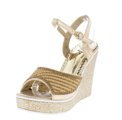 Olivia217 Gold Sparkle Open Toe Slingback Platform Wedge - Wholesale Fashion Shoes