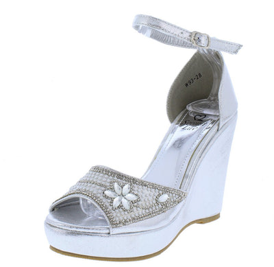 Isabella248 Silver Sparkle Flower Peep Toe Platform Wedge - Wholesale Fashion Shoes