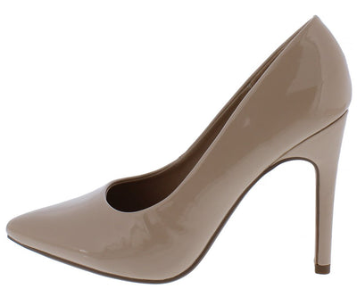 Weuclid Beige Patent Pointed Toe Stiletto Pump Heel - Wholesale Fashion Shoes