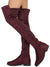 Natalia257 Burgundy Stretch Almond Toe Over the Knee Boot